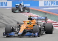 Mclaren driver Lando Norris of Britain steers his car during the Russian Formula One Grand Prix at the Sochi Autodrom circuit, in Sochi, Russia, Sunday, Sept. 26, 2021. (AP Photo/Sergei Grits)