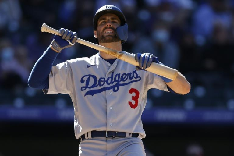 Chris Taylor reacts after striking out in the Los Angeles Dodgers opening day loss to the Colorado Rockies