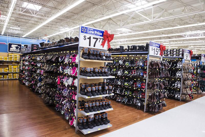 Shoes are displayed at a Walmart store in Secaucus, New Jersey, November 11, 2015. REUTERS/Lucas Jackson