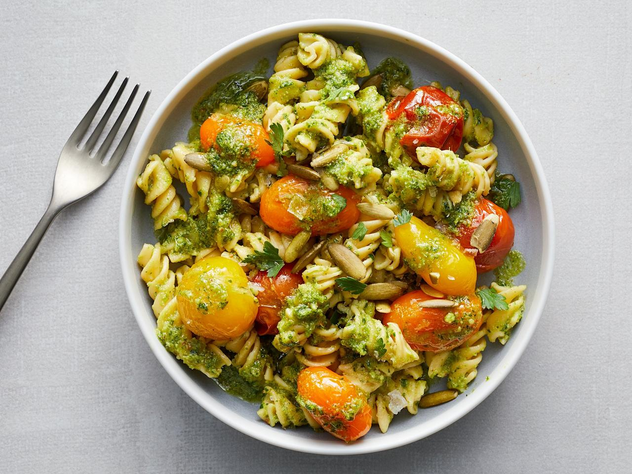 """<p>This fast pasta dish is easy to prep and makes for a nice quick, family-friendly, weeknight dinner. You can top it with chicken to give it a little extra staying power, but it also works well as a lunch salad, or to bring to a potluck as a side dish. We like to use fiber-packed chickpea pasta, but whole wheat is a tasty substitution.</p> <p> <a href=""""https://www.cookinglight.com/recipes/pesto-pasta-salad"""">View Recipe: Pesto Pasta Salad</a></p>"""