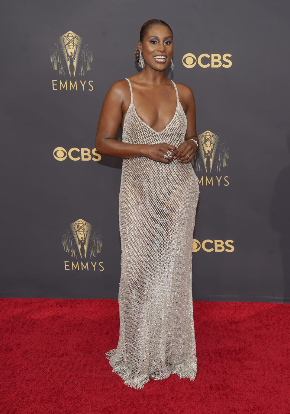 Issa Rae arrives at the 73rd Primetime Emmy Awards on Sunday, Sept. 19, 2021, at L.A. Live in Los Angeles. (AP Photo/Chris Pizzello)