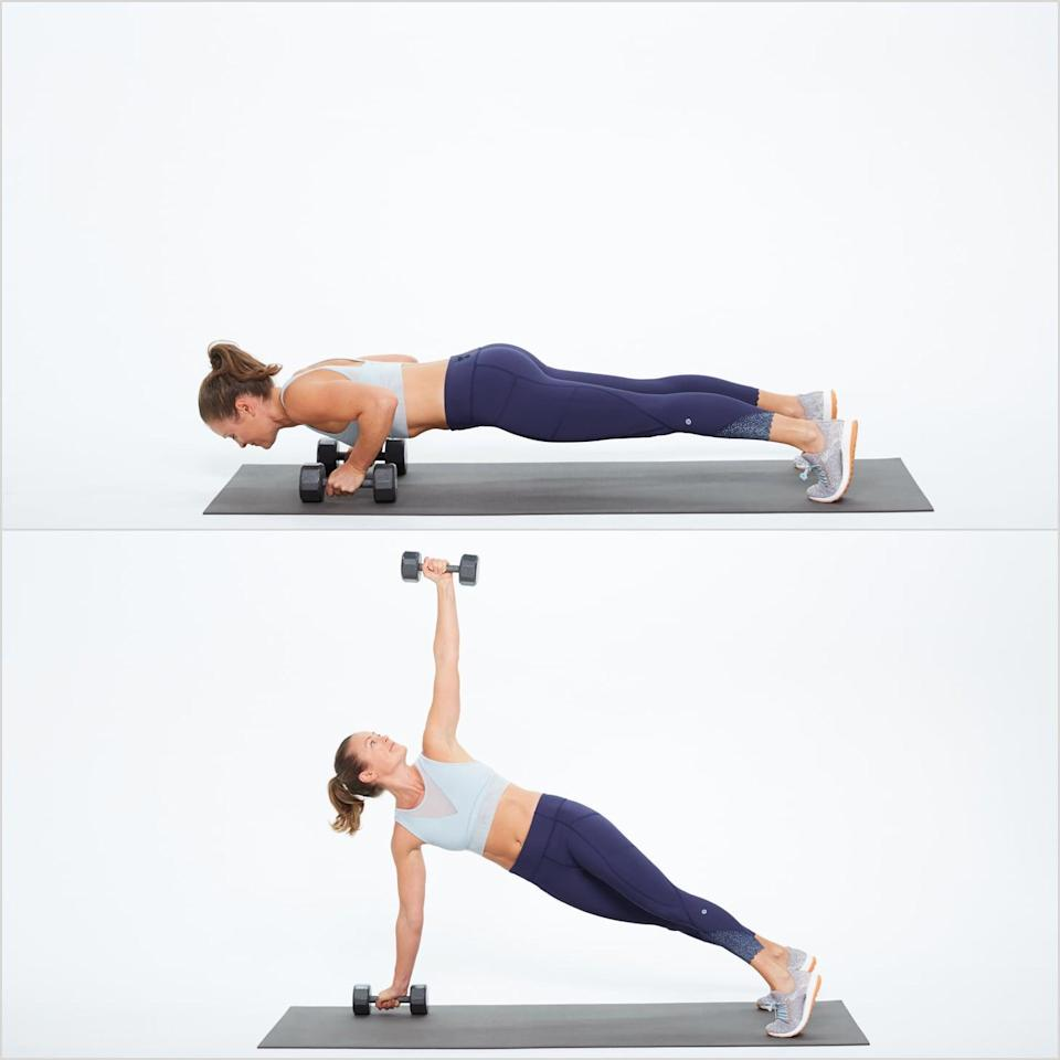 <ul> <li>Begin in a plank position with your feet in line with your hips and your hands each holding a dumbbell.</li> <li>Lower your body toward the floor, then push through your arms, returning to plank.</li> <li>Twist to the left, reaching your left arm, dumbbell in hand, to the ceiling without letting your pelvis raise or lower. </li> <li>Return to plank position, bringing your hand back to the floor. Do another push-up and twist to the right. This completes one rep.</li> </ul>