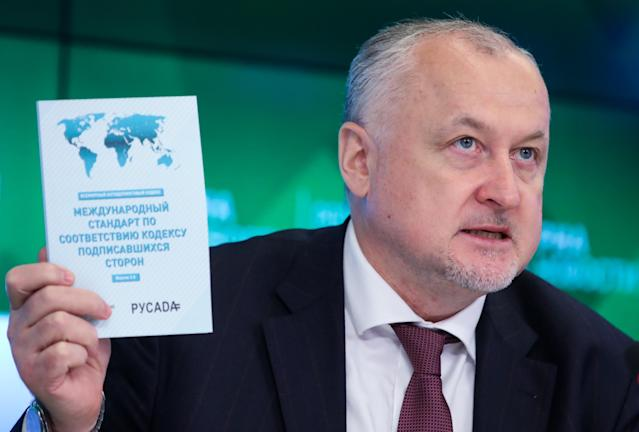 RUSADA Director Yuri Ganous speaks during a press conference. (Getty Images)