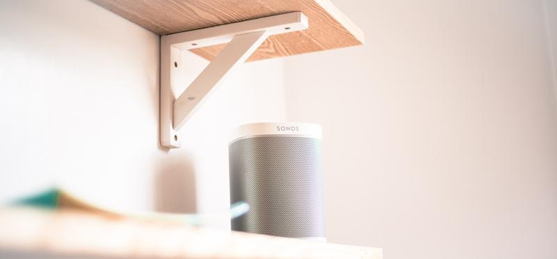 Stirling/Scotland - 7 July 2019: Sonos One Smart Speaker with Built-In Alexa Voice Control, Wi-Fi, White on white background