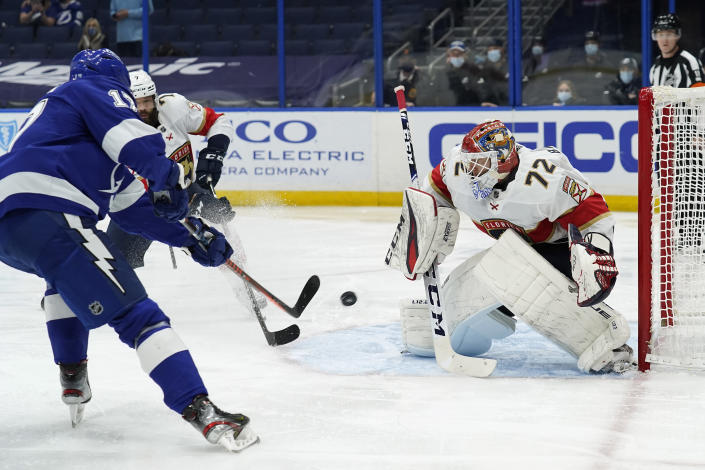 Tampa Bay Lightning left wing Alex Killorn (17) gets off a shot on Florida Panthers goaltender Sergei Bobrovsky (72) during the second period of an NHL hockey game Sunday, March 21, 2021, in Tampa, Fla. (AP Photo/Chris O'Meara)