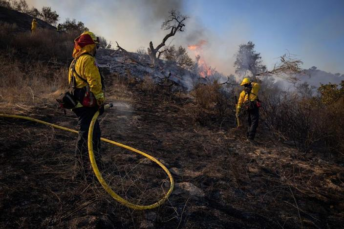 Firefighters work to extinguish flames on a hillside during the Bond Fire in Lake Forest, California (EPA-EFE)