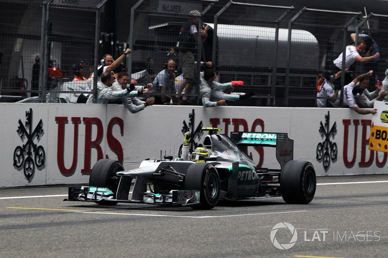 """Nico Rosberg, Mercedes AMG F1 W03 crosses the line to win the race <span class=""""copyright"""">Sutton Images</span>"""