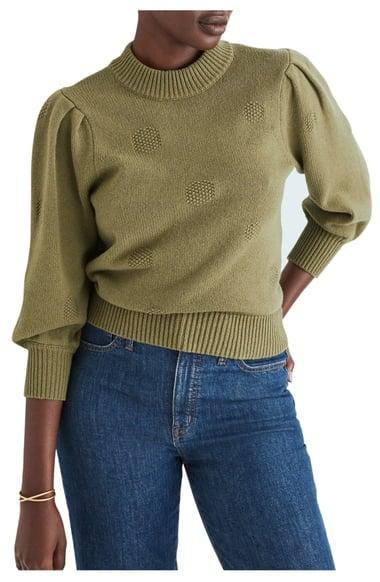 <p><span>Madewell Eaton Dotted Puff Sleeve Cotton &amp; Merino Yarn Pullover Sweater</span> ($35, originally $69)</p>