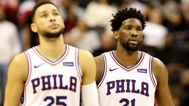 A three-point attempt from Ben Simmons on Sunday drew a hilarious reaction from Joel Embiid post-game.