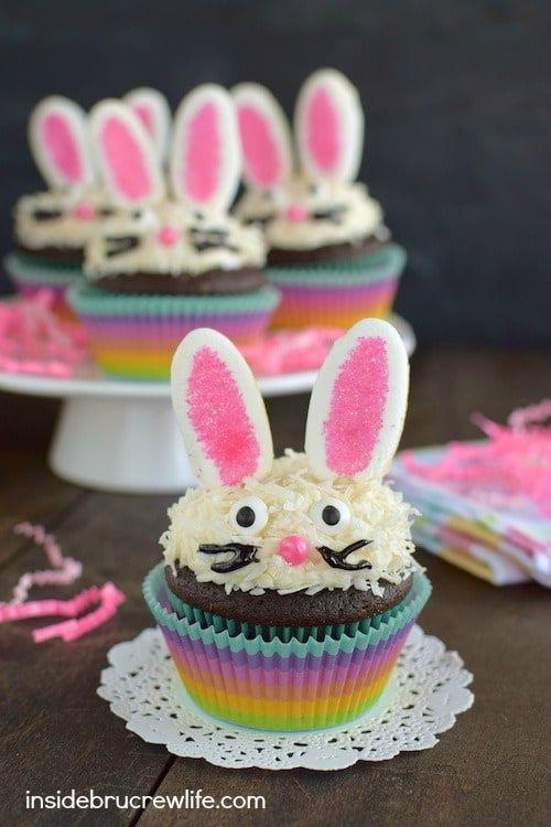 """<p>No need for a knife with these cute cupcakes. They're already portioned out — so if you're feeding a large group, everyone will get their own bunny.</p><p><em><a href=""""https://insidebrucrewlife.com/chocolate-coconut-bunny-cupcakes/"""" target=""""_blank"""">Get the recipe from Inside Bru Crew Life </a><a href=""""https://www.aliceandlois.com/easter-bunny-cake/"""" target=""""_blank"""">»</a></em><br></p>"""