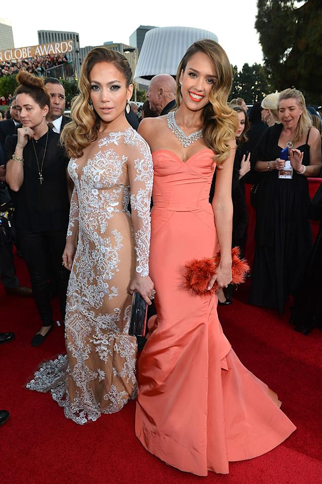 Jennifer Lopez and Jessica Alba arrive at the 70th Annual Golden Globe Awards at the Beverly Hilton in Beverly Hills, CA on January 13, 2013.