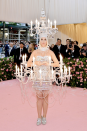 The pop star once again pulled out all the stops in a chandelier-style gown which has been compared to Lumière from 'Beauty and the Beast'. Photo: Getty Images