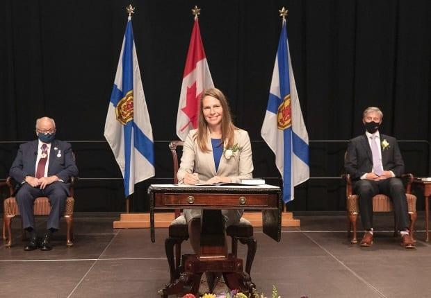Education Minister Becky Druhan is shown at the cabinet swearing in on Aug. 31, 2021. Druhan says visiting classrooms and sitting in on teacher staff meetings will help her understand what the day-to-day issues are in the education system. (Communications Nova Scotia - image credit)