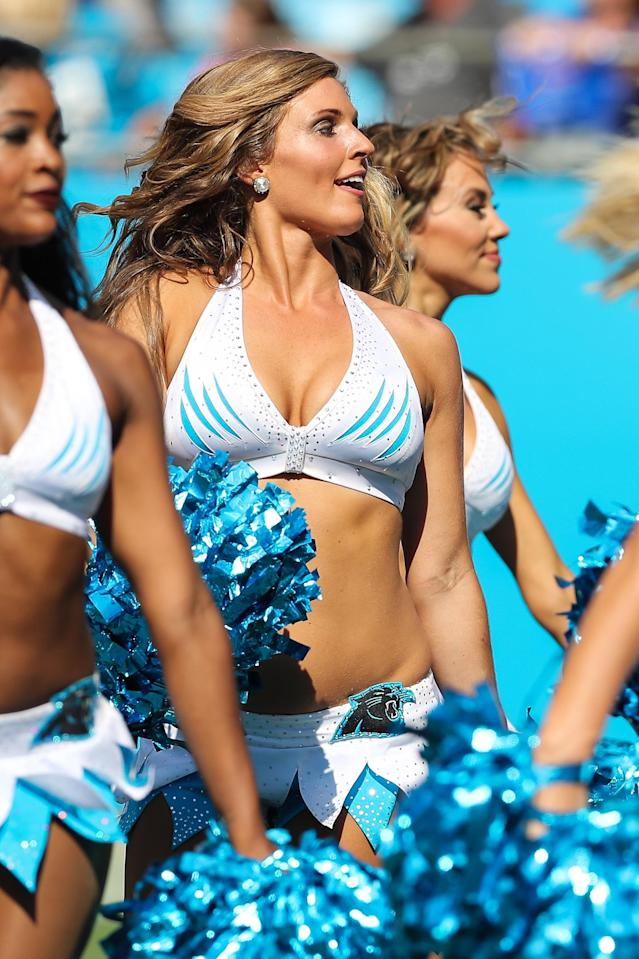 <p>Carolina Panthers Topcats Cheerleaders during second half action between the Carolina Panthers and the Buffalo Bills on September 17, 2017 at Bank of America Stadium in Charlotte,NC. (Photo by Jim Dedmon/Icon Sportswire) </p>