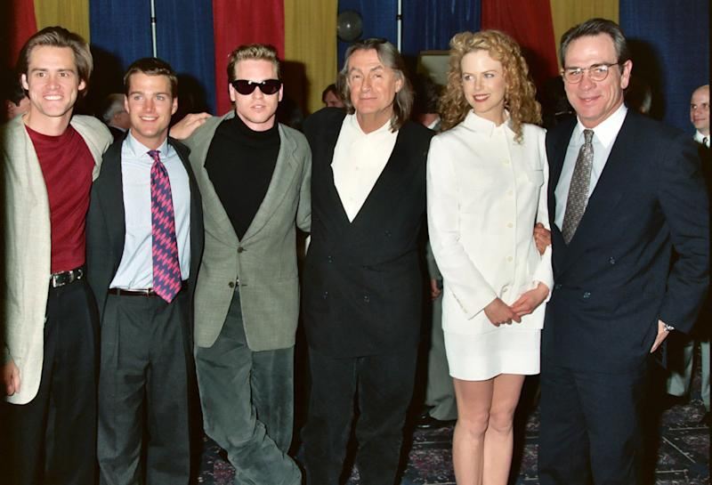 Jim Carrey, Chris O'Donnell, Val Kilmer, Joel Schumacher, Nicole Kidman and Tommy Lee Jones (Photo by Jeff Kravitz/FilmMagic, Inc)