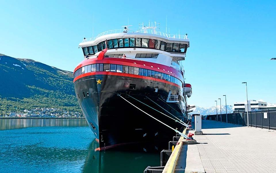 Hurtigruten's Roald Amundsen is currently docked in Tromsø