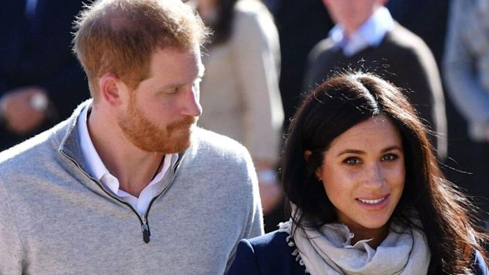 Prince Harry, Duke of Sussex (left) and his wife, Meghan Markle, Duchess of Sussex (right), visit a Morocco boarding house in Feb. 2019 on a three-day visit to the country. (Photo by Tim Rooke – Pool/Getty Images)