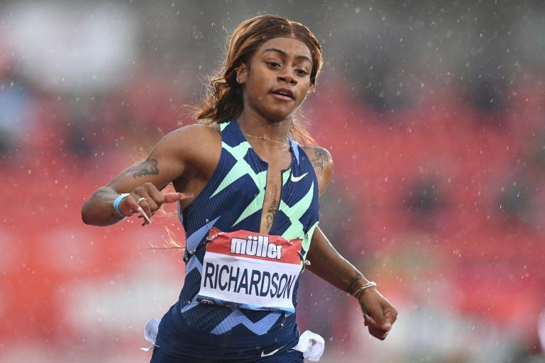 Confidence in defeat: US sprinter Sha'Carri Richardson crosses the line in second place in the 100m in Gateshead