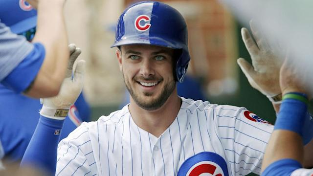 "<a class=""link rapid-noclick-resp"" href=""/mlb/players/9558/"" data-ylk=""slk:Kris Bryant"">Kris Bryant</a> set a new salary record for first-year arbitration-eligible players. (AP)"