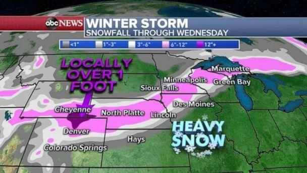 PHOTO: As this storm moves into the northeast on Wednesday it will be mostly rain. Rain will turn to snow along the backside of the system with gusty winds around the Great Lakes and into interior New England. (ABC News)