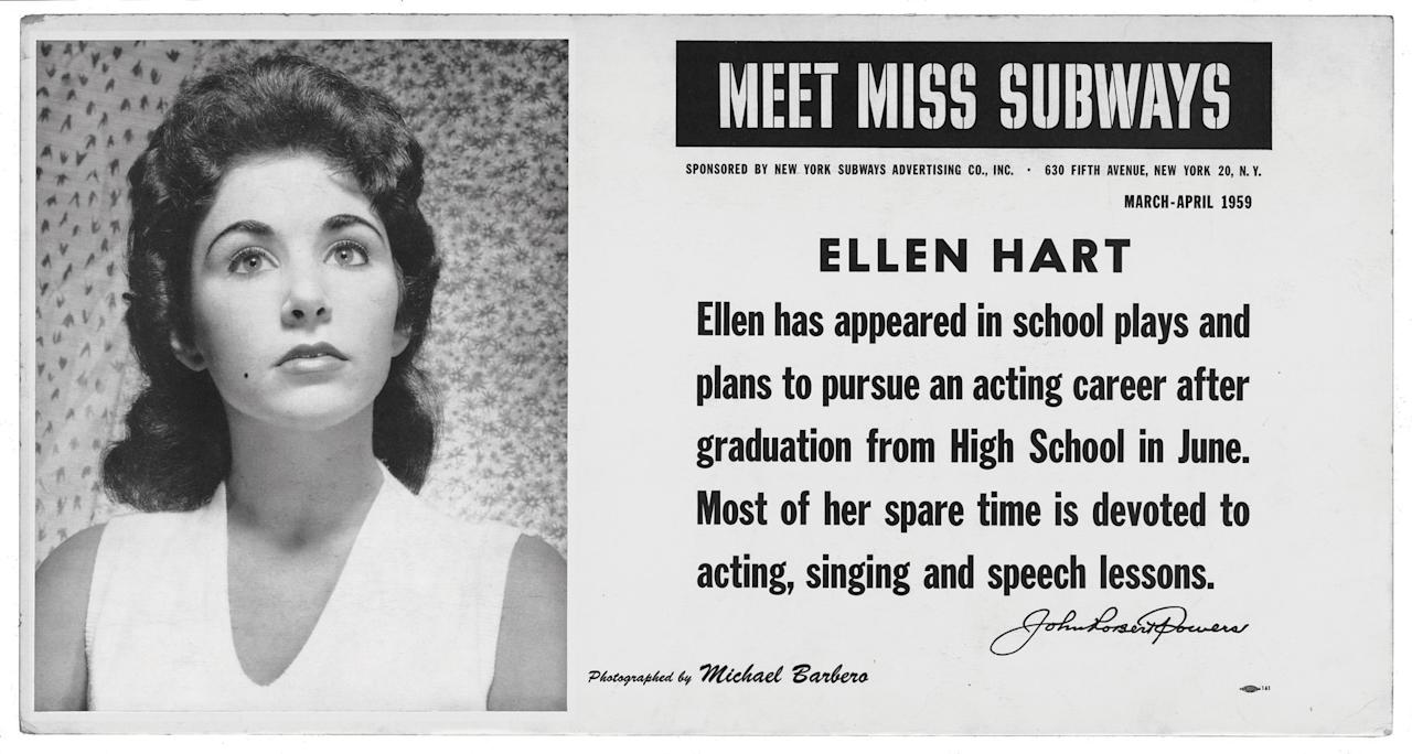"This image provided by the MTA courtesy of the New York Transit Museum shows Ellen Hart, who appeared on placards in the New York City subways during March and April of 1959 in the ""Meet Miss Subways"" campaign that ran for 35 years as eye candy to bring attention to other advertisements in New York's transit system. ""Meet Miss Subways: New York's Beauty Queens 1941-76,"" is now an exhibition at the New York Transit Museum running Oct. 23-March 25, and a companion book of the same name with current-day photos of the women. (AP Photo/ MTA courtesy of the New York Transit Museum)"