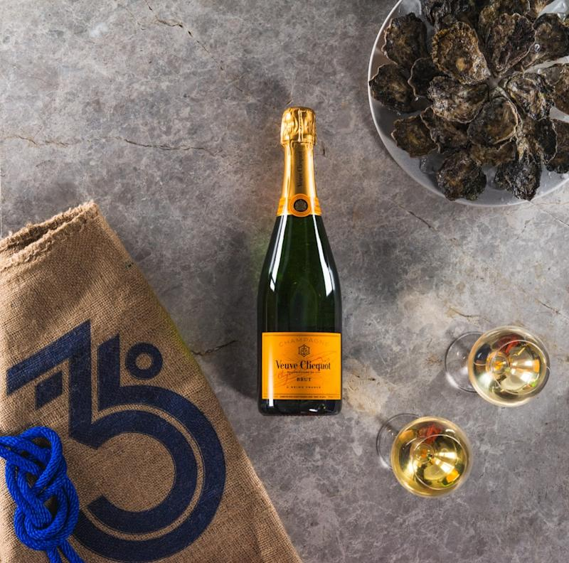 Two dozen Sydney rock oysters and a bottle of Veuve Clicquot champagne