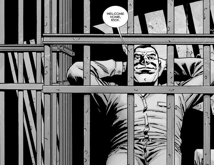 Negan in a jail cell in The Walking Dead issue 141. (Credit: Image Comics)