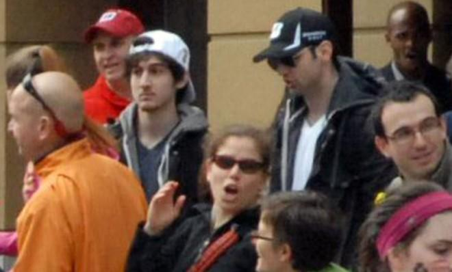 Dzhokhar Tsarnaev and Tamerlan Tsarnaev approximately 10 to 20 minutes before the blasts that struck the Boston Marathon, April 15.