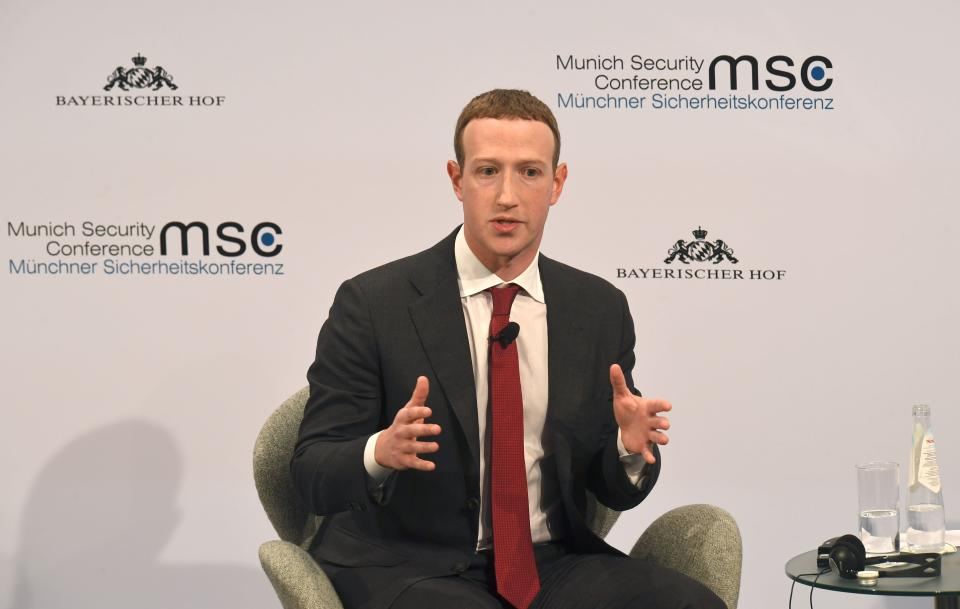 The founder and CEO of Facebook Mark Zuckerberg speaks during the 56th Munich Security Conference (MSC) in Munich, southern Germany, on February 15, 2020. (Photo by Christof STACHE / AFP)
