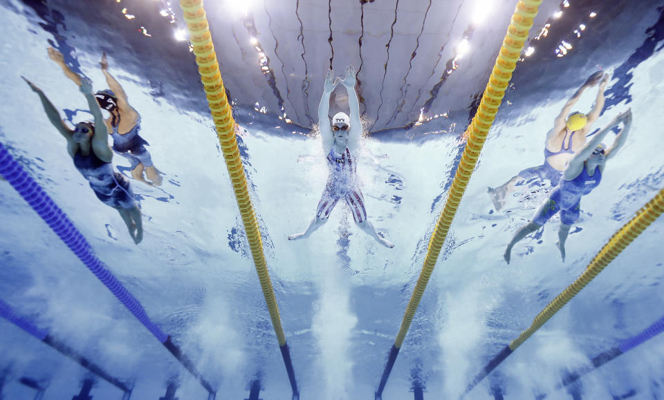 <p>TOKYO, JAPAN - JULY 25: Lilly King of Team United States competes in heat six of the Women's 100m Breaststroke on day two of the Tokyo 2020 Olympic Games at Tokyo Aquatics Centre on July 25, 2021 in Tokyo, Japan. (Photo by Tom Pennington/Getty Images)</p>