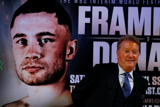Boxing - Carl Frampton & Nonito Donaire Public Work-Outs - Victoria Square Shopping Centre, Belfast, Britain - April 18, 2018 Promoter Frank Warren during a press conference Action Images via Reuters/Jason Cairnduff