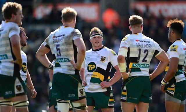 "<span class=""element-image__caption"">Dylan Hartley, centre, and his Northampton Saints team-mates in discussion after another Exeter score.</span> <span class=""element-image__credit"">Photograph: Harry Trump/Getty Images</span>"