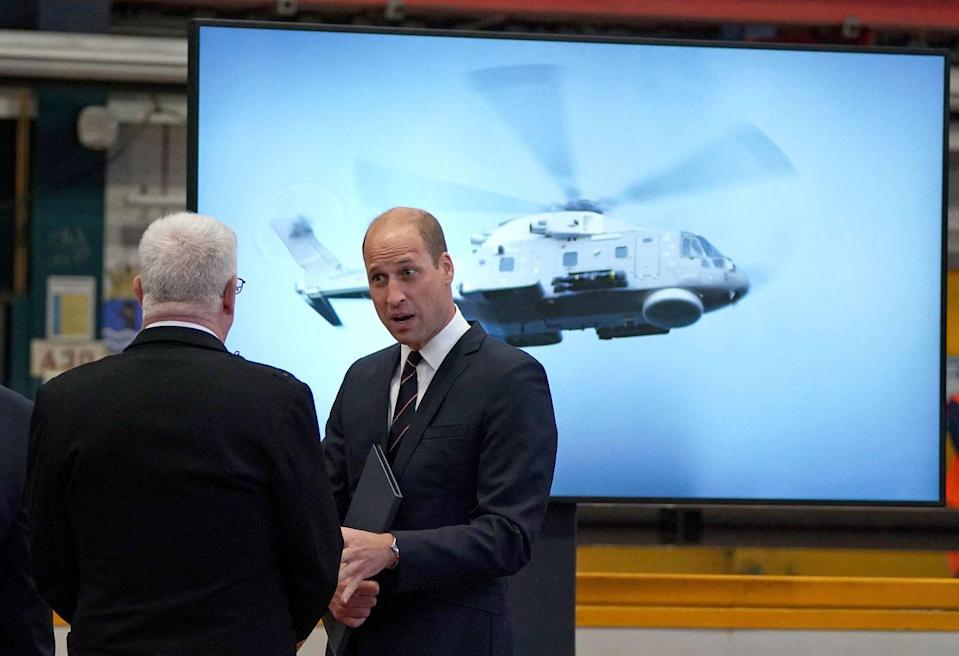<p>Prince William meets with TK after his speech at HMS Belfast's steel cutting ceremony. </p>
