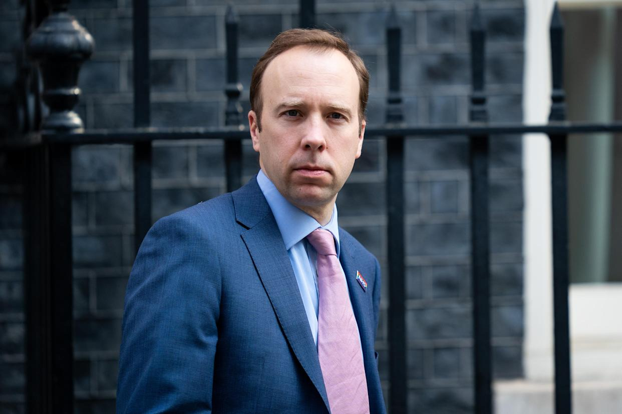 File photo dated 9/4/2020 of Matt Hancock who has resigned as Health Secretary after video footage emerged of him kissing an aide in his ministerial office in a breach of coronavirus restrictions. Issue date: Sunday June 27, 2021.
