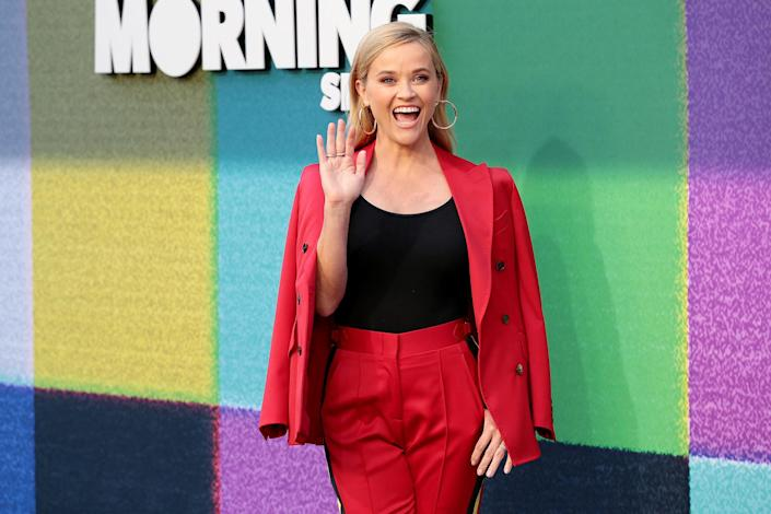 <p>Reese Witherspoon brings the pep at Apple TV+'s <em>The Morning Show</em> photo call at the Four Seasons Hotel Los Angeles at Beverly Hills on Sept. 8.</p>