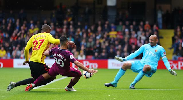 "Sergio Aguero scores one of his three goals against <a class=""link rapid-noclick-resp"" href=""/soccer/teams/watford/"" data-ylk=""slk:Watford"">Watford</a>. (Getty)"