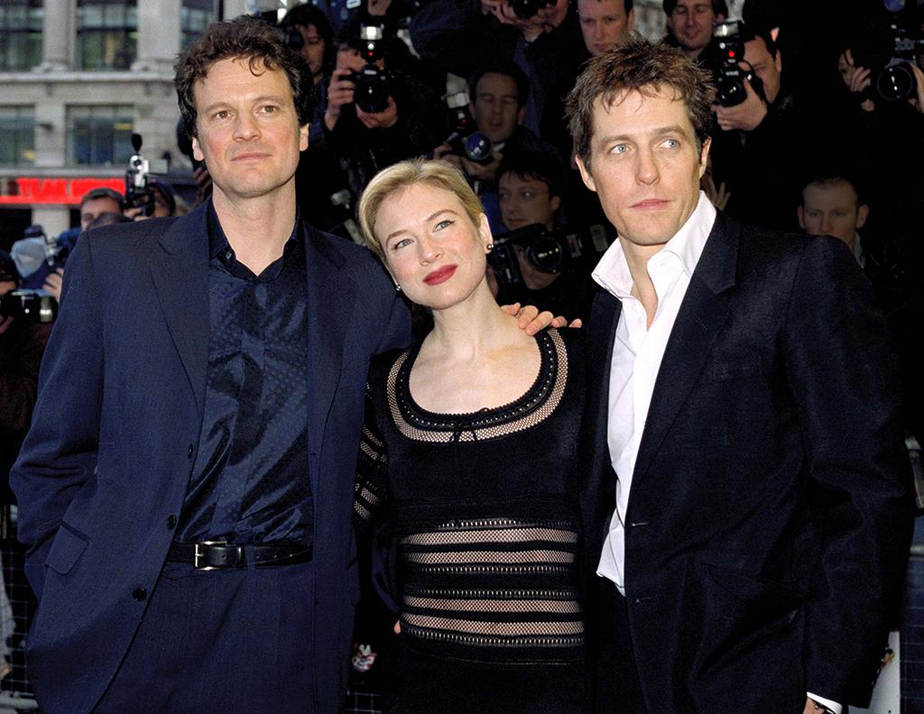 <p>Despite objections over her being neither British nor overweight, Zellweger is cast in the coveted lead role in the film adaptation of the bestselling Helen Fielding book series. She arrives at the U.K. launch with co-stars Colin Firth (left) and Hugh Grant. (Photo: Justin Goff/Getty Images) </p>