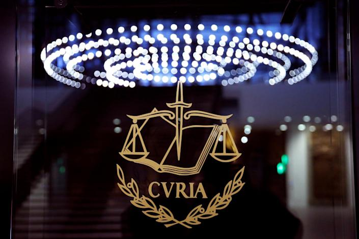 The logo of the European Court of Justice is pictured outside the main courtroom in Luxembourg: Reuters
