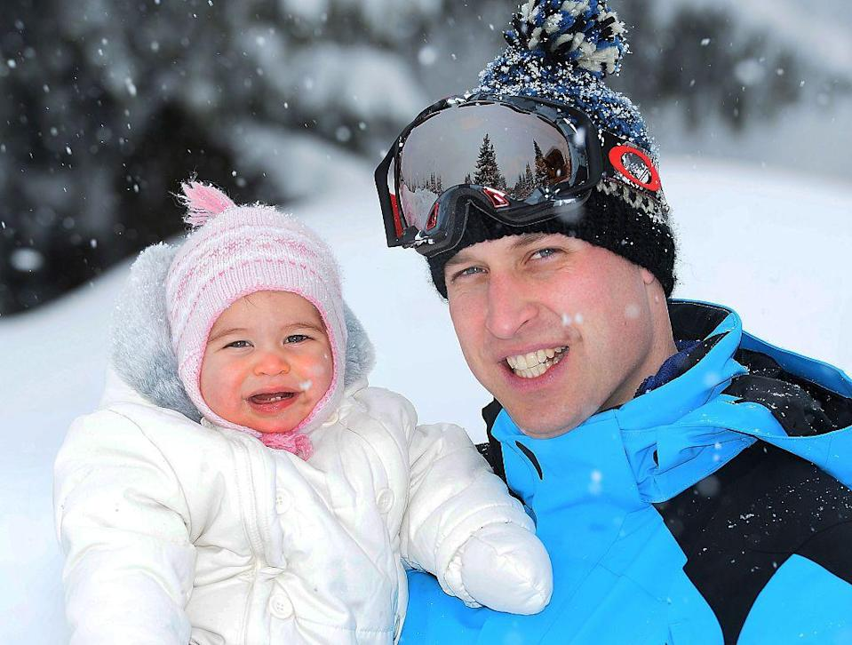 <p>Charlote was carried by her Dad in a photo taken on their ski holiday in the French Alps in March 2016. </p>