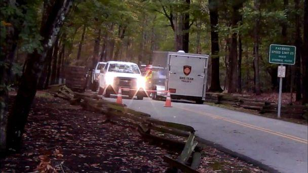 PHOTO: In this image taken on Oct. 21, 2019, authorities search for a small plane that vanished from radar while approaching the Raleigh-Durham International Airport, near the William B. Umstead State Park in North Carolina, on Oct. 20, 2019. (WTVD)