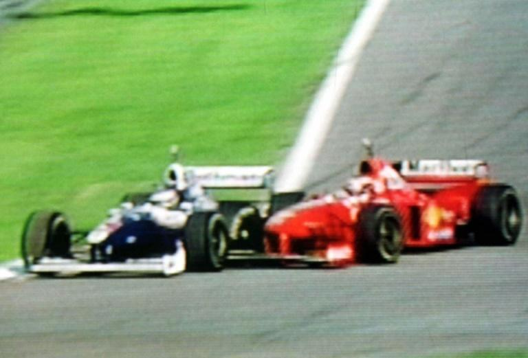 Bad turn: a screen grab from German television shows Michael Schumacher hitting Jacques Villeneuve in a costly crash at the European Grand Prix in Jerez in 1997
