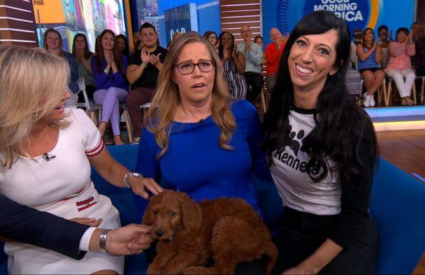 PHOTO: Former nurse Tennille Strode, who has Parkinson's disease, is surprised with a service dog by Jeanette Forrey of 4E Kennels on 'Good Morning America,' Aug. 12, 2019. (ABC)
