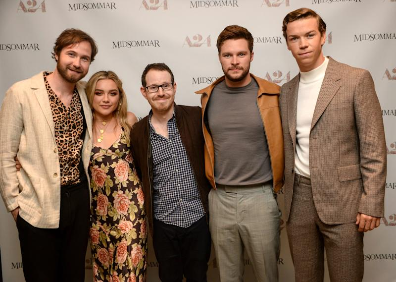 Ari Aster (center) and his 'Midsommar' cast at the movie's New York City premiere (Photo: Eli Winston/Everett Collection)