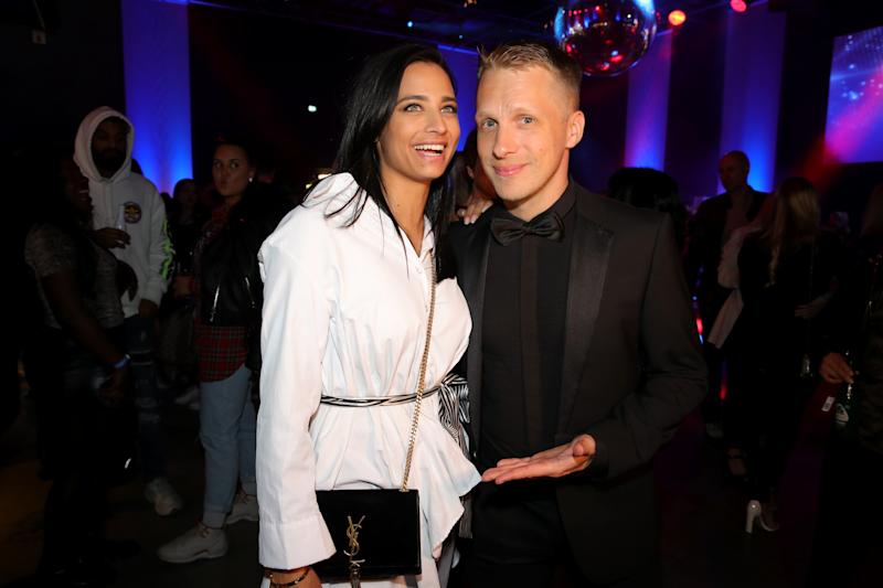 "COLOGNE, GERMANY - APRIL 27: Oliver Pocher and Amira Aly attend the after work show during the season 16 finals of the tv competition show ""Deutschland sucht den Superstar"" (DSDS) at Coloneum on April 27, 2019 in Cologne, Germany. (Photo by Andreas Rentz/Getty Images)"