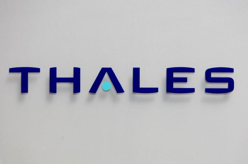 FILE PHOTO - The logo of French defence and electronics group Thales is seen at the company's headquarters in Neuilly
