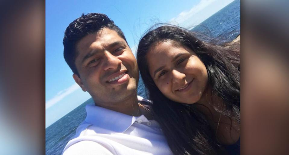 Rosy Loomba, pictured with her husband, fell to her death on Saturday. Source: Facebook
