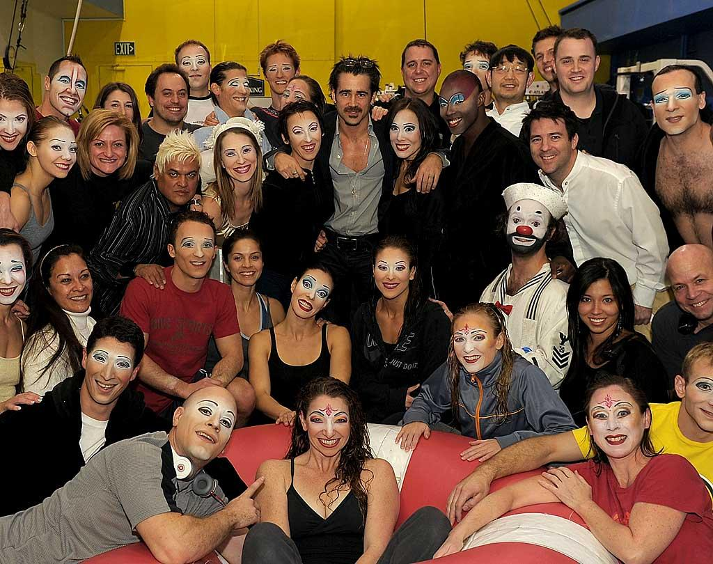 """Is someone running off to join the circus? If you can spot him in their midst, that's """"Ondine"""" actor Colin Farrell posing with the cast of """"O"""" by Cirque du Soleil at the Bellagio in Las Vegas. The star, who took his sister Claudine and assistant Ante Novakovic, is a huge fan of the show -- Thursday was the third time Farrell has seen """"O."""" Denise Truscello/<a href=""""http://www.wireimage.com"""" target=""""new"""">WireImage.com</a> - February 3, 2011"""