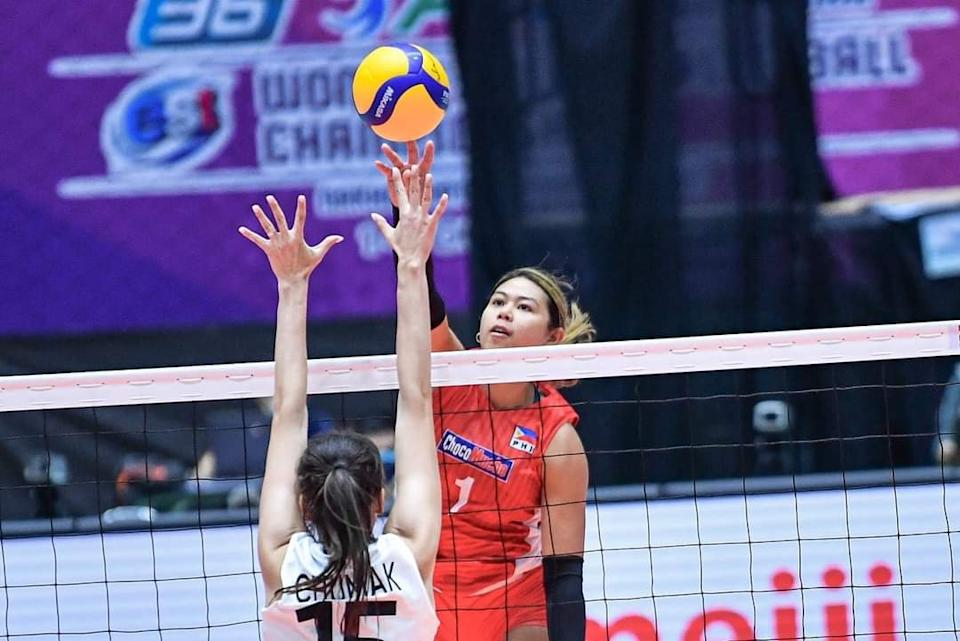 Kalei Mau scores a team-high 12 points in Choco Mucho's loss to Zhetysu in the 2021 Asian Women's Club Volleyball Championship. (Photo: AVC - Asian Volleyball Confederation)