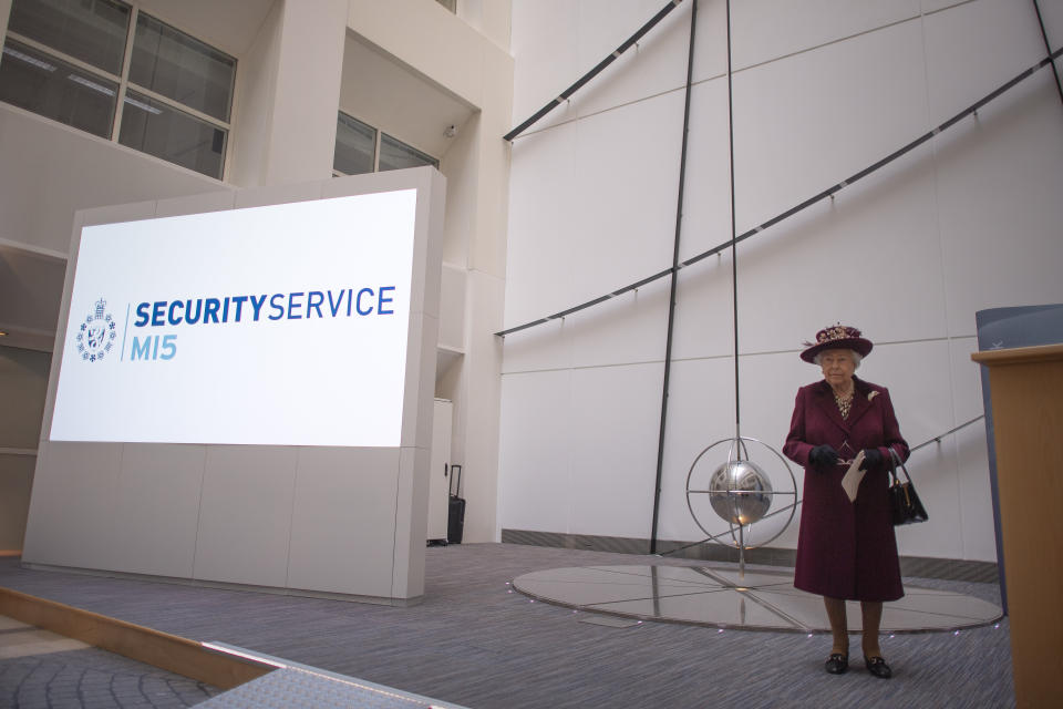Queen Elizabeth II during a visit to the headquarters of MI5 at Thames House in London.