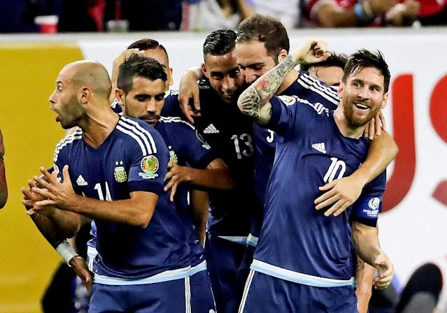 Jun 21, 2016; Houston, TX, USA; Argentina midfielder Lionel Messi (10) celebrates with teammates after scoring a goal during the first half against the United States in the semifinals of the 2016 Copa America Centenario soccer tournament at NRG Stadium. Mandatory Credit: Kevin Jairaj-USA TODAY Sports TPX IMAGES OF THE DAY